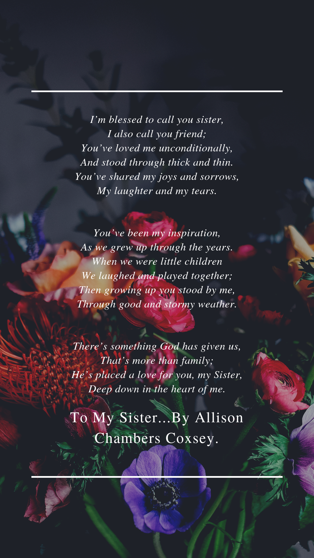 To My Sister...By Allison Chambers Coxsey - Eastern Memorials